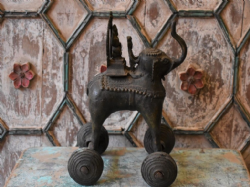 bronze tribal elephant with maharaja on wheels, south india C1900